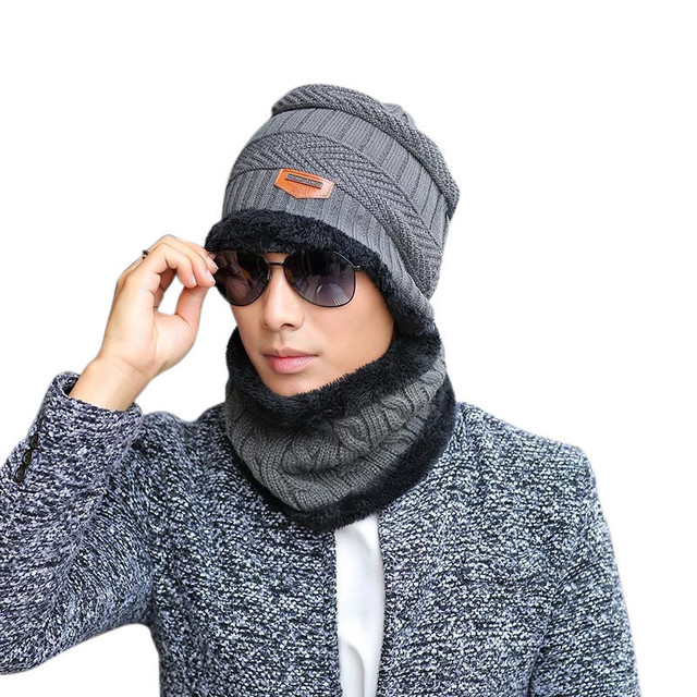 New Styles Adult Winter Fashion Hat Knitting Wool Hat Men s Knitted Hat  Scarf Two-piece Set Pullover Keep Warm Outdoor Cap 255ce070384