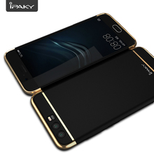 IPAKY 3 In 1 Mobile Phone Case For Huawei P10 P10 Plus Hybrid PC Hard Shockproof Slim Bumper Case Electroplate Matte Back Case
