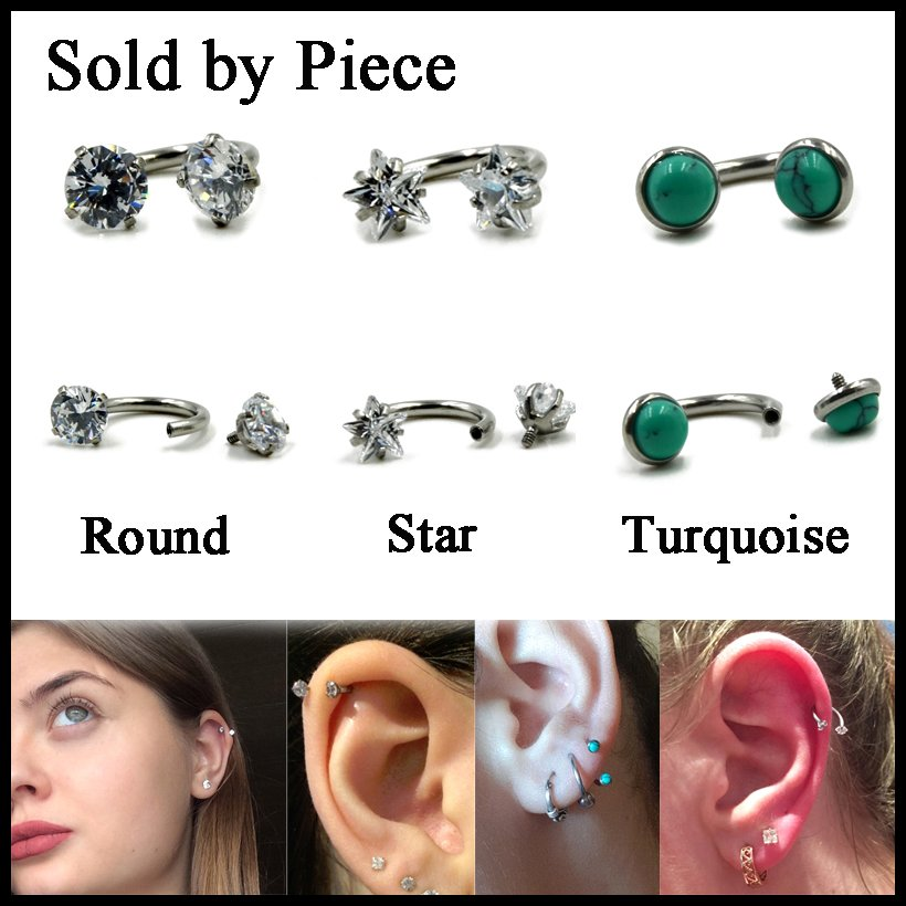 1PC Crystal Zircon Internally Thread Circular Barbell Horseshoe Ring Ear Cartilage Helix Nose Septum Lip Labret Ring Jewelry 16g