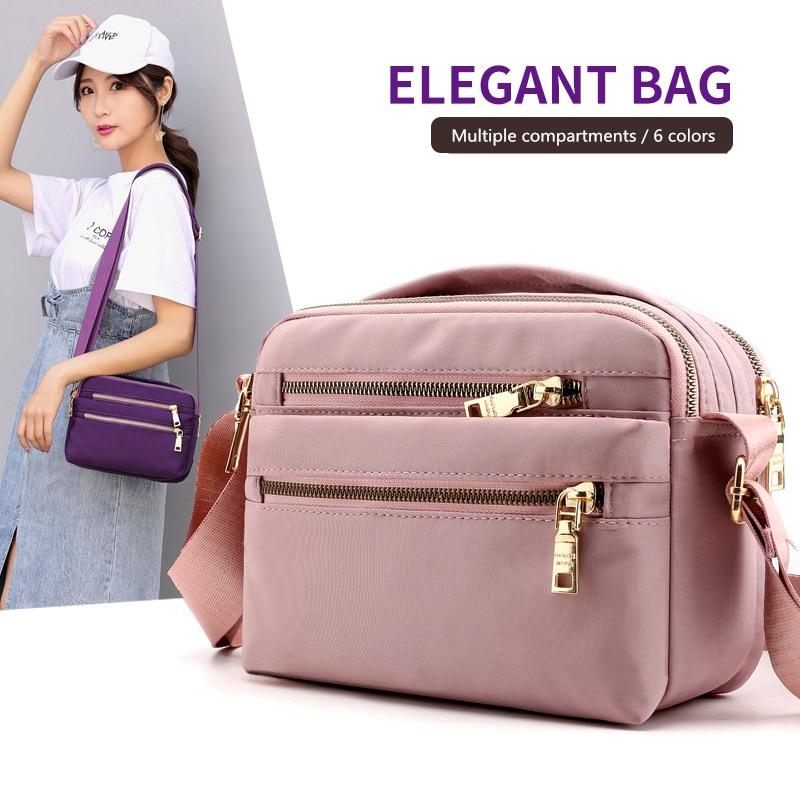 Women Nylon Shoulder Bag Waterproof Multi-pocket Zipper Bag Luxury Handbags Women Crossbody Bags For Designer Bolsa Feminina Sac