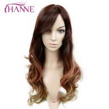 Ханне черный коричневого до блондинка 26 дюймов длинные волнистые парик с челкой термостойкие синтетические парики волос для женщин вечеринки или daywear