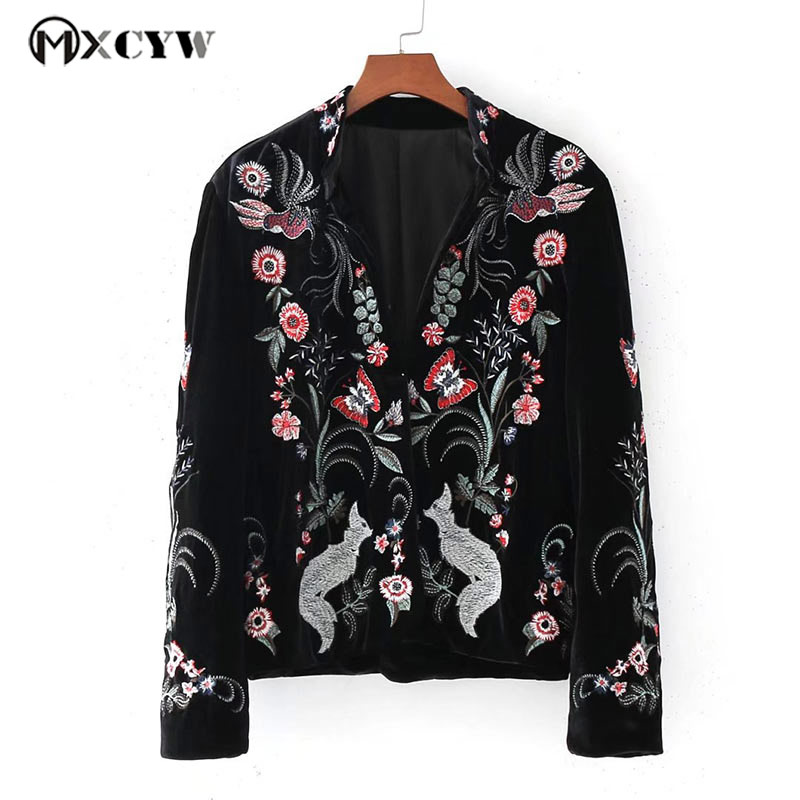 Fashion Thicker Warm Long Sleeves Embroidery Flower Female Jacket Winter Autumn Casual Slim Coats Short Jacket Women'S Clothing deep blue fashion long sleeves side pockets embroidery jacket