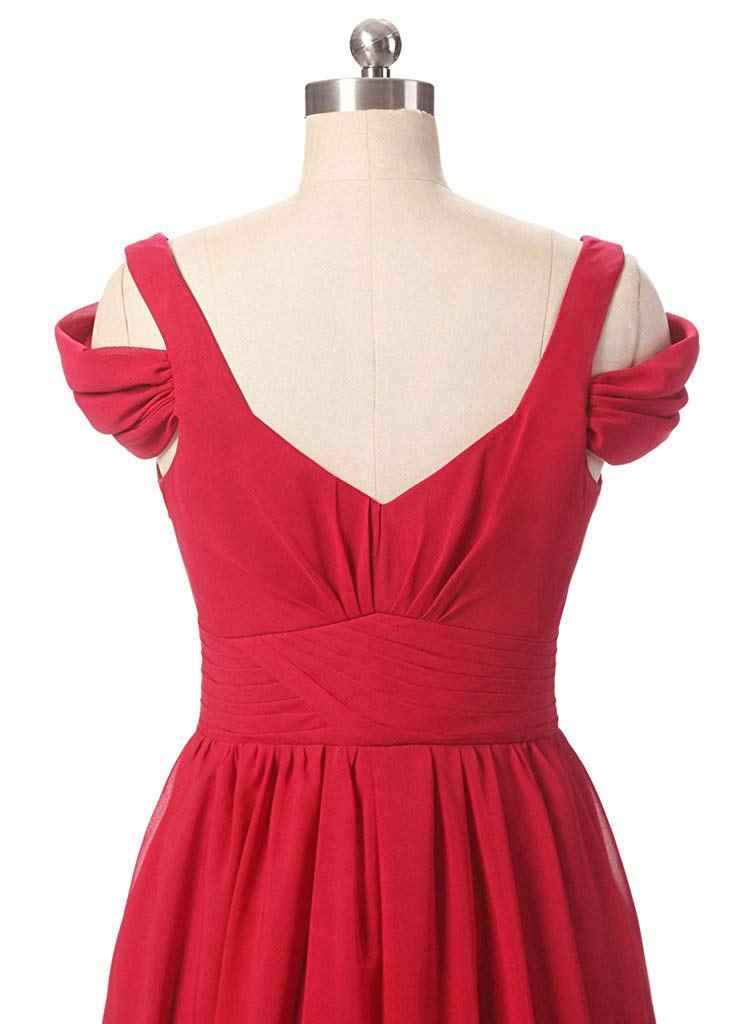 JaneVini אלגנטי שיפון שמלת נשים מסיבת חתונה סקסי גבוה פיצול אדום שושבינה שמלות ארוך V-צוואר באורך רצפת שמלת 2018