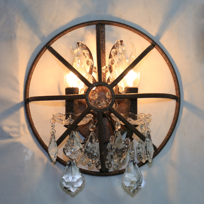 LOFT Personality Wrought Iron Semi circle Double E14 Screw Cage Crystal Wall lamp