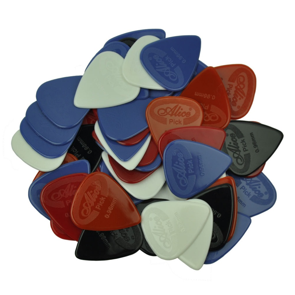 100pcs Heavy 0.96mm Glossy Anti-Skid Nylon Guitar Picks Plectrums Bass Picks