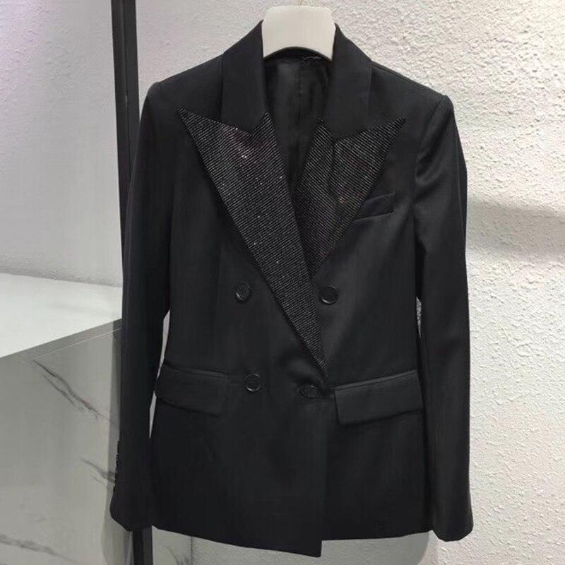 Double Manteau Formelle Femme Black 2019 Haute Mode Vestes À Manches Longues Qualité Femmes Mince De Boutonnage Noir wfwFHqpO