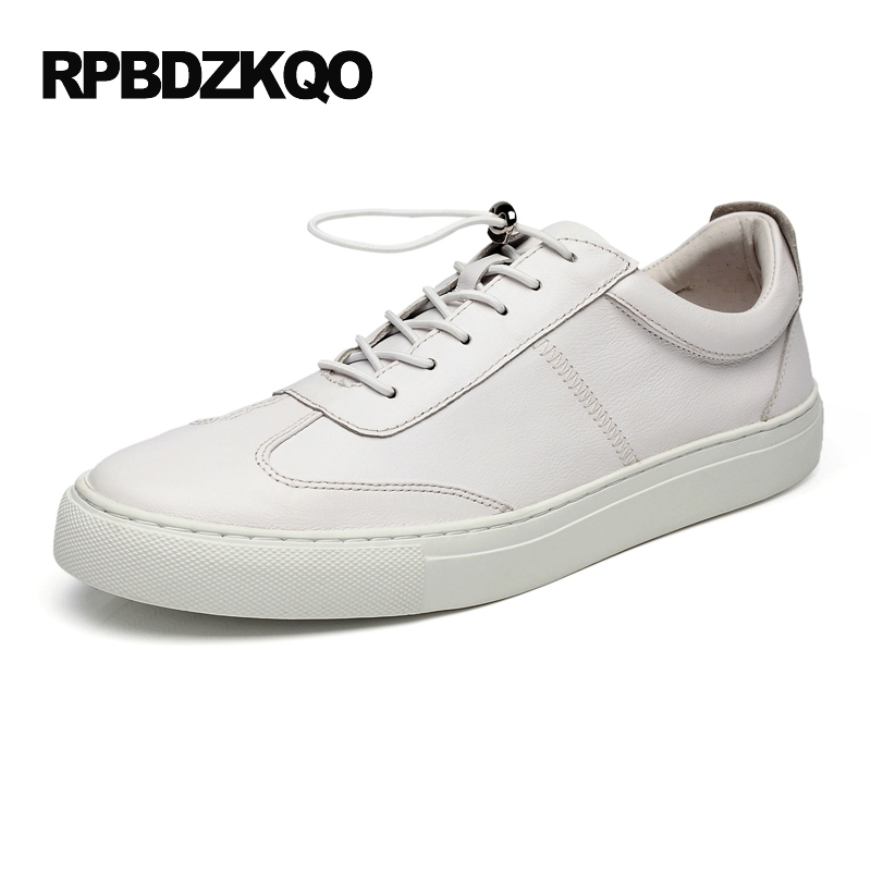 Cowhide Shoes Real Leather Genuine Sneakers Comfort 2017 New Men Flats Platform Lace Up British Style Skate Casual White Hot hot sale mens italian style flat shoes genuine leather handmade men casual flats top quality oxford shoes men leather shoes