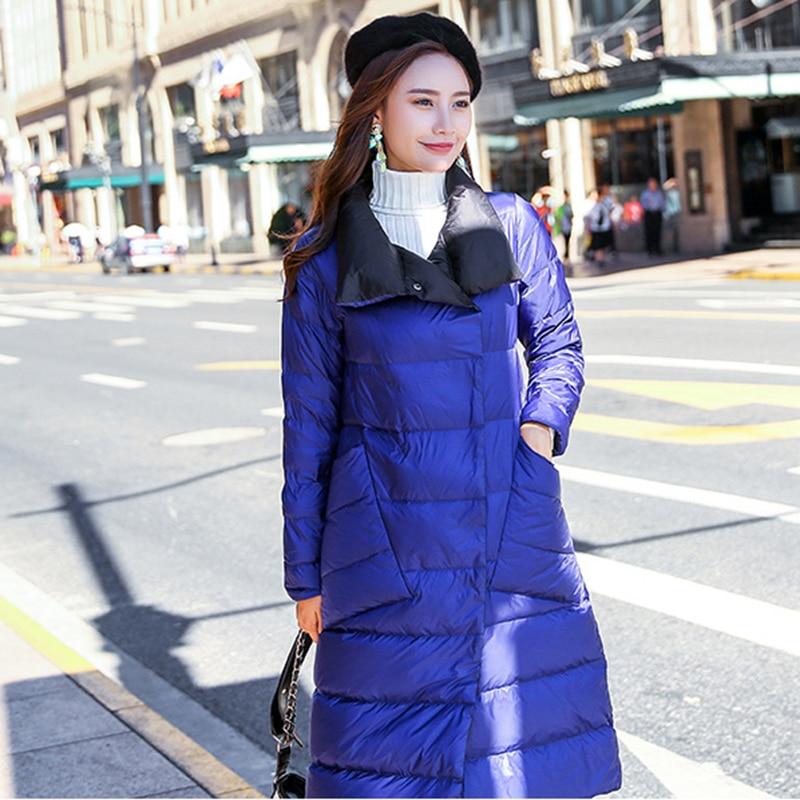 Negro Con Bolsillo azul Largo 2018 Invierno Down Pato Abrigo Outwear Lf906  Nueva camel Nieve Alta Jacket Calidad De Capa Femenino Mujeres ... a5157e5fb82b