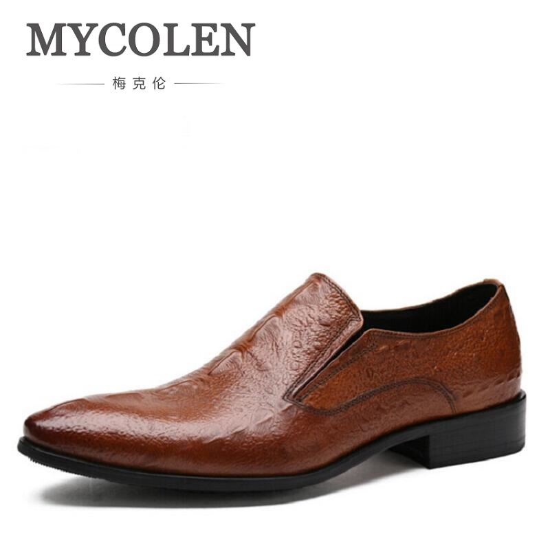 MYCOLEN Mens Dress Italian Leather Crocodile Wedding Shoes Luxury Brand Mens Loafers Genuine Leather Formal Loafers Moccasins mycolen mens loafers genuine leather italian luxury crocodile style slip on casual dress shoes for male sapatos masculinos
