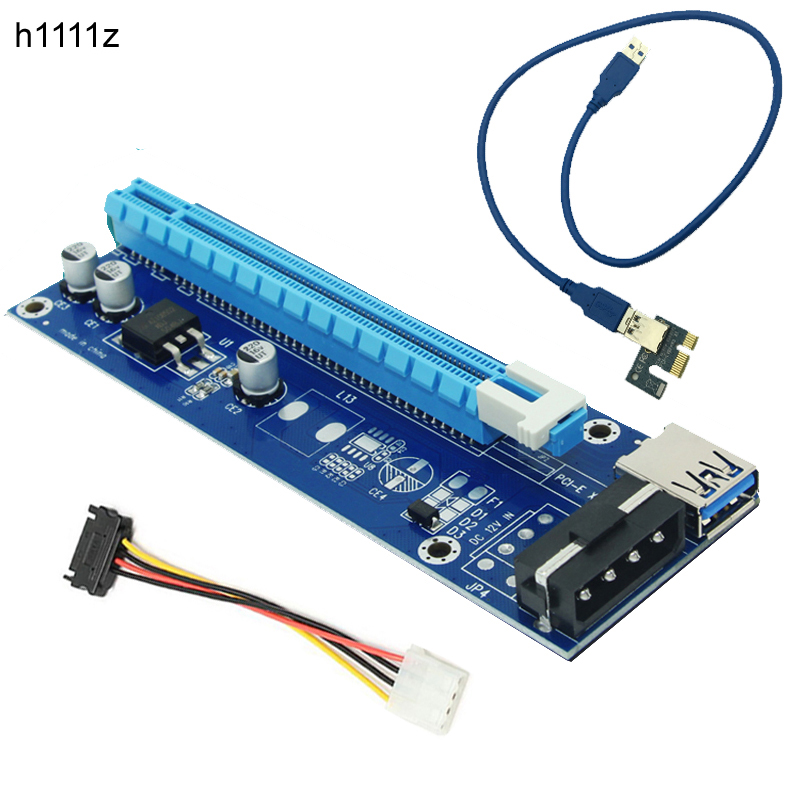 New 60CM PCIE 1X To 16X PCI Express Card For Miner Machine Overcurrent Protection USB Cable SATA To 4 Pin Power Cord Riser Card