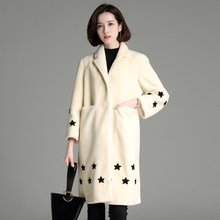 2018Womens' Winter fur coat personality cute star pattern print fur coat women long sleeve warm wool coat fashion girl(China)