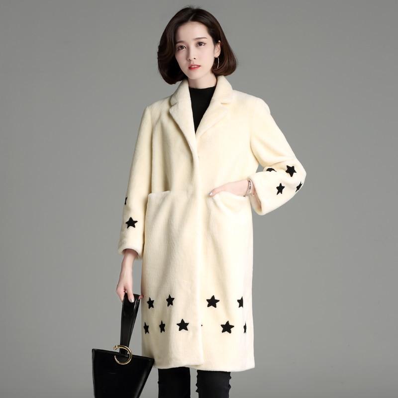 2018Dámská zimní srst osobnost roztomilá hvězda vzor tisk kožich ženy dlouhé rukávy teplá vlna kabát móda dívka