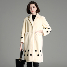 2018Womens' Winter fur coat personality cute star pattern print fur coat women long sleeve warm wool coat fashion girl