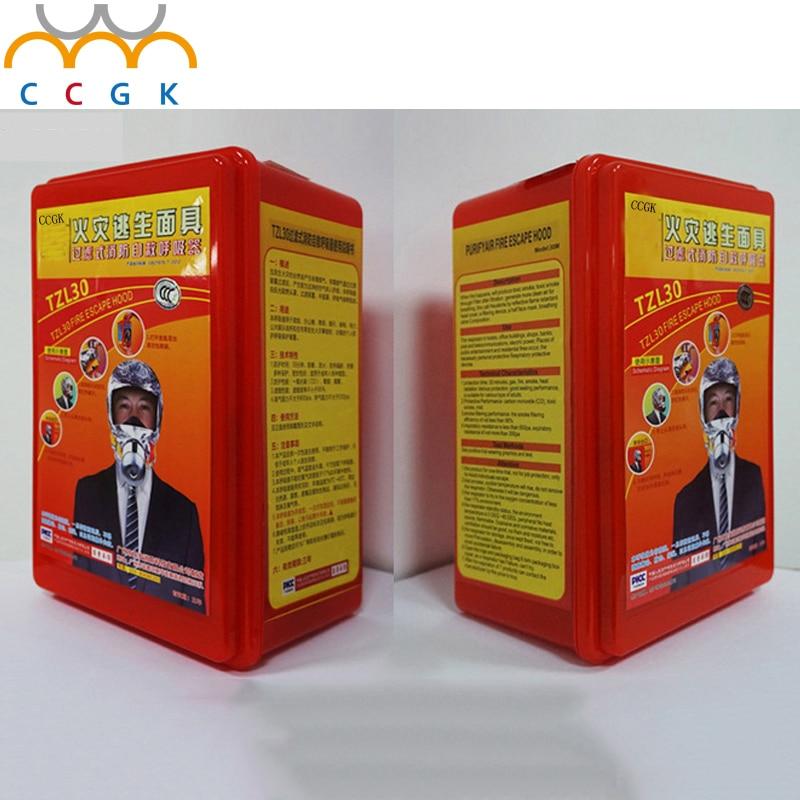 цена Fire Escape Mask Emergency Hood Oxygen gas Masks Respirators 30 Minutes Smoke Toxic Filter Gas Mask with Packing Box Escape MASK онлайн в 2017 году