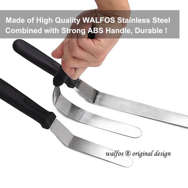 WALFOS Stainless Steel Butter Cake Cream Knife Spatula for Cake Smoother Icing Frosting Spreader Fondant Pastry Cake Decorating