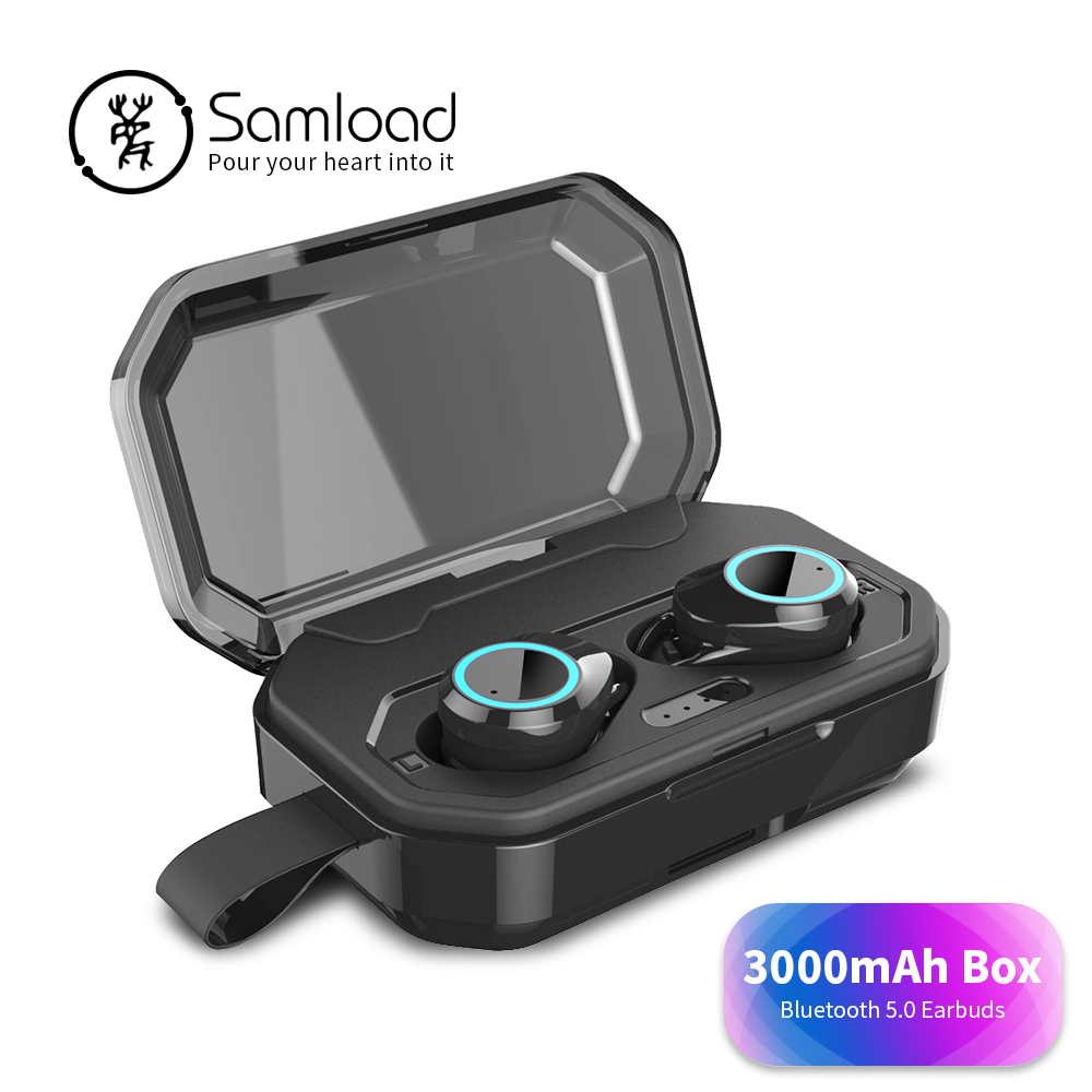 Samload True Wireless Earphone Stereo Games Bluetooth 5.0 Headphones with 3000mAh Charging box For iPhone 6s 7 8 Xs Xr Headset rockspace eb30