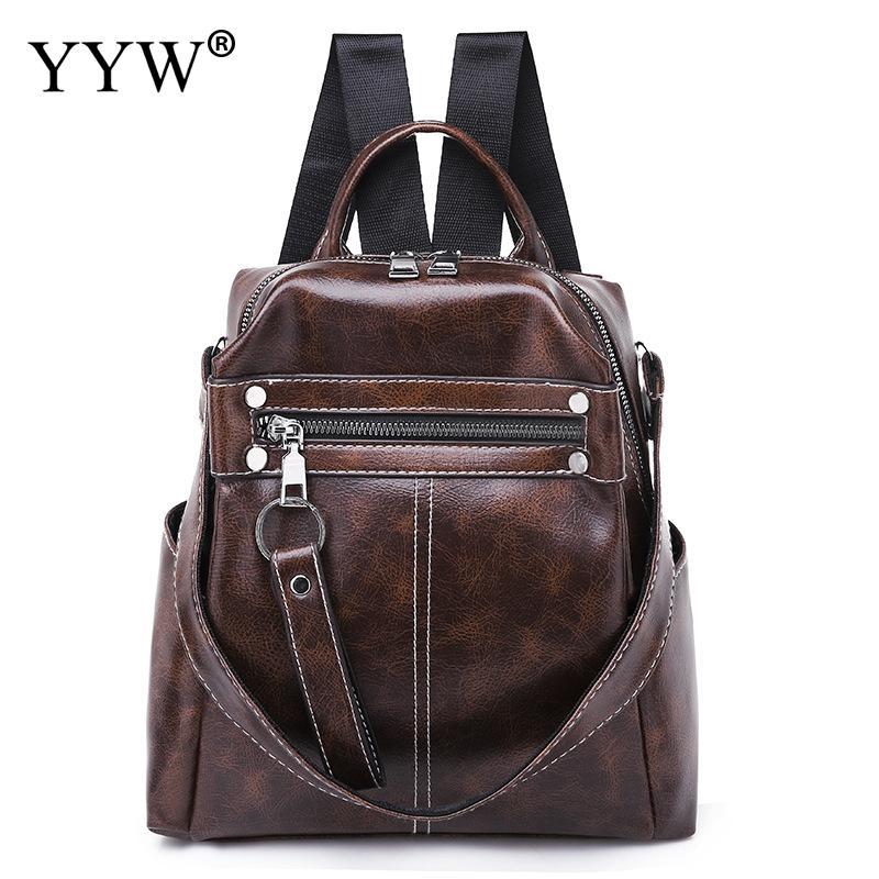 Backpack Brown Women Mochila Knapsack Shoulder-Bags Large-Capacity Black For Travel Girl