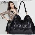 QIAO BAO High Quality Metal Genuine Leather Bag women leather handbags Women Shoulder Bag women handbag leather bags bolsas