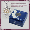 wholesale 6-7mm Akoya Pearl Oysters Gift set with 925 sterling silver Flower  Cage Pendant