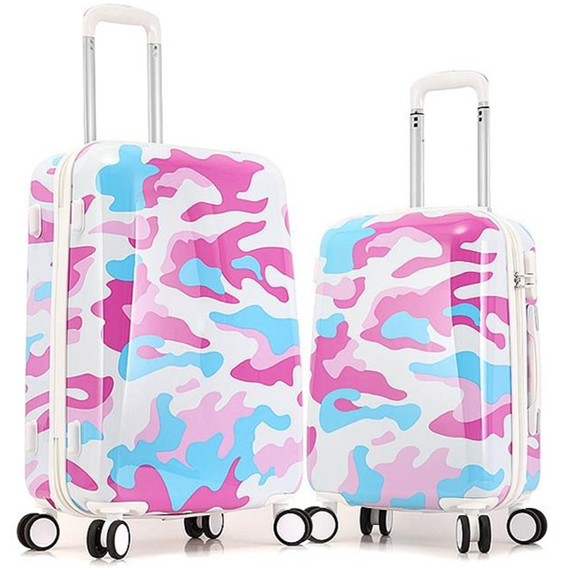 KUNDUI 20 24 Inch,Spinner wheel bags,ABS+PC Lightweight, Camouflage, Travel Suitcase,T rolley Case Rolling Luggage bag maletas
