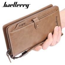 2019 Baellerry 남자 긴 패션 지갑 Desigh 지퍼 카드 홀더 가죽 지갑 단색 동전 주머니 고품질 남성 지갑