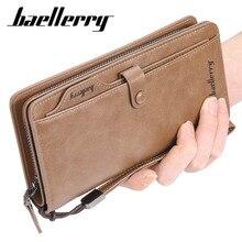 2019 Baellerry erkekler uzun moda cüzdan tasarım fermuar kart tutucu deri çanta katı para cep yüksek kaliteli erkek çanta