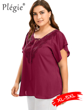 Plegie XL-5XL Plus Size Lace Patchwork Shirt 10 Colors Summer Womens Tops And Blouses Short Sleeve Blusas Mujer De Moda 2019