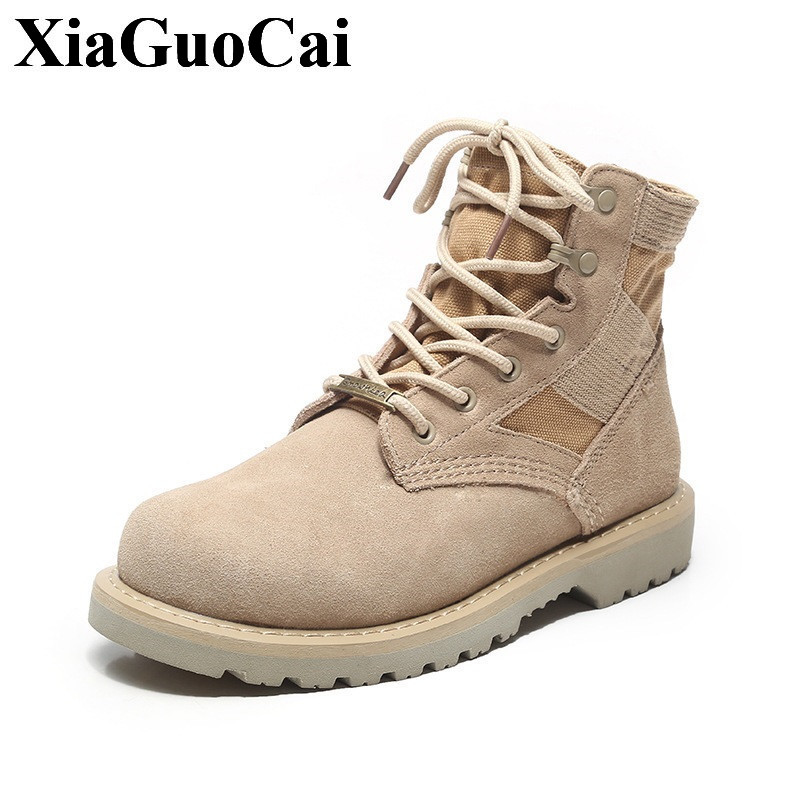 Genuine Leather Shoes Men Boots High-top Lace-up Ankle Boots Outdoor Antiskid Wear-resistant Tooling Boots Couple Shoes H538 35
