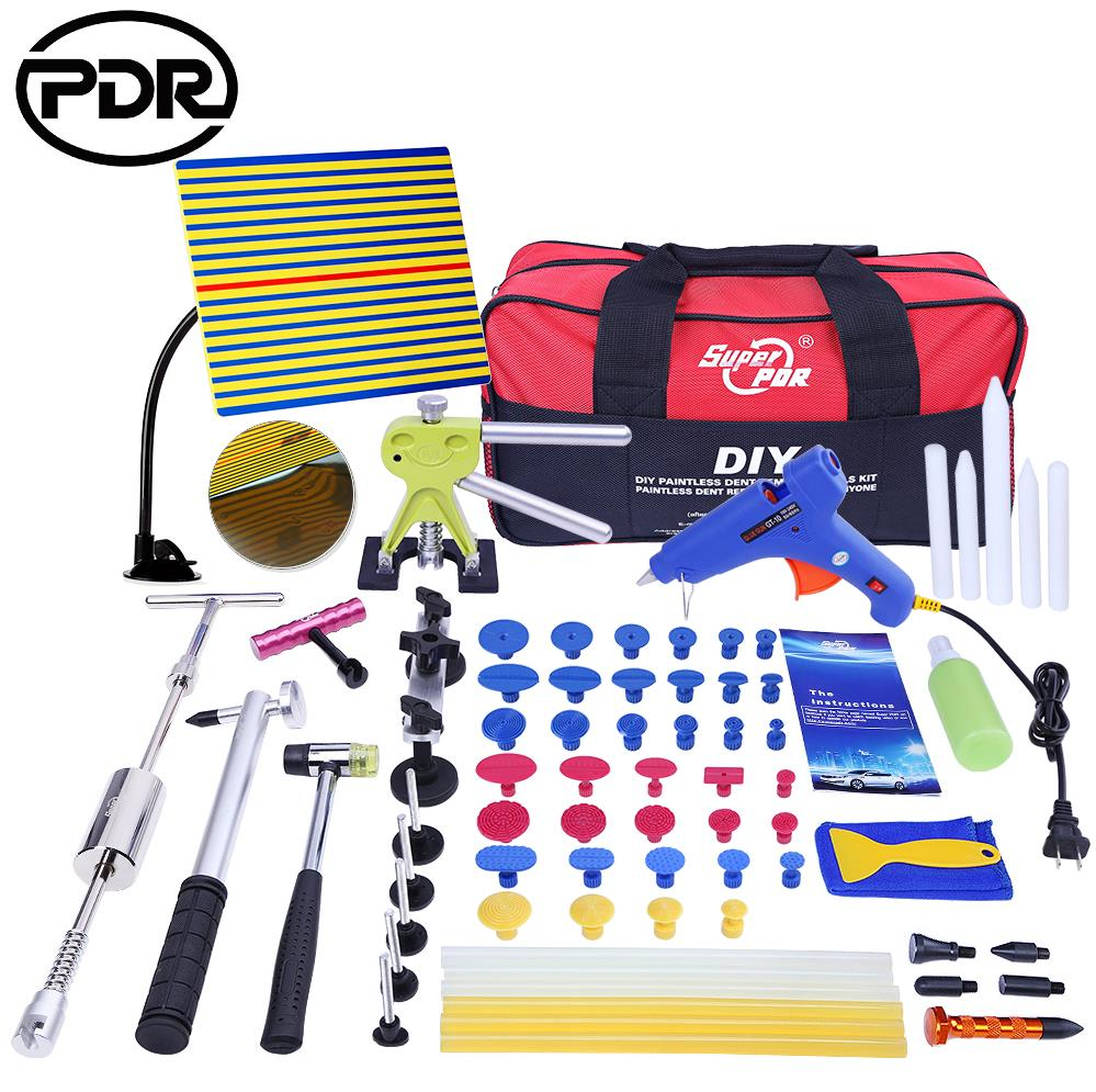 Ferramentas de PDR Paintless Dent Repair Tools Dent Dent Extrator Ferramenta de Remoção de Kit Refletor Board Ferramentas Pistola de Cola Extrator Tabs