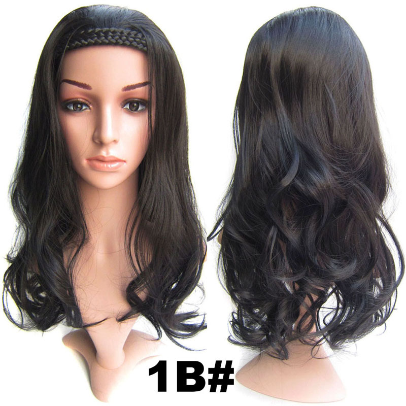 #1B Natural Black Synthetic Hair Natural Wigs 22inch 55cm 210g Wig Fall Wavy Heat Resistant Fiber Wig 16Colours Available