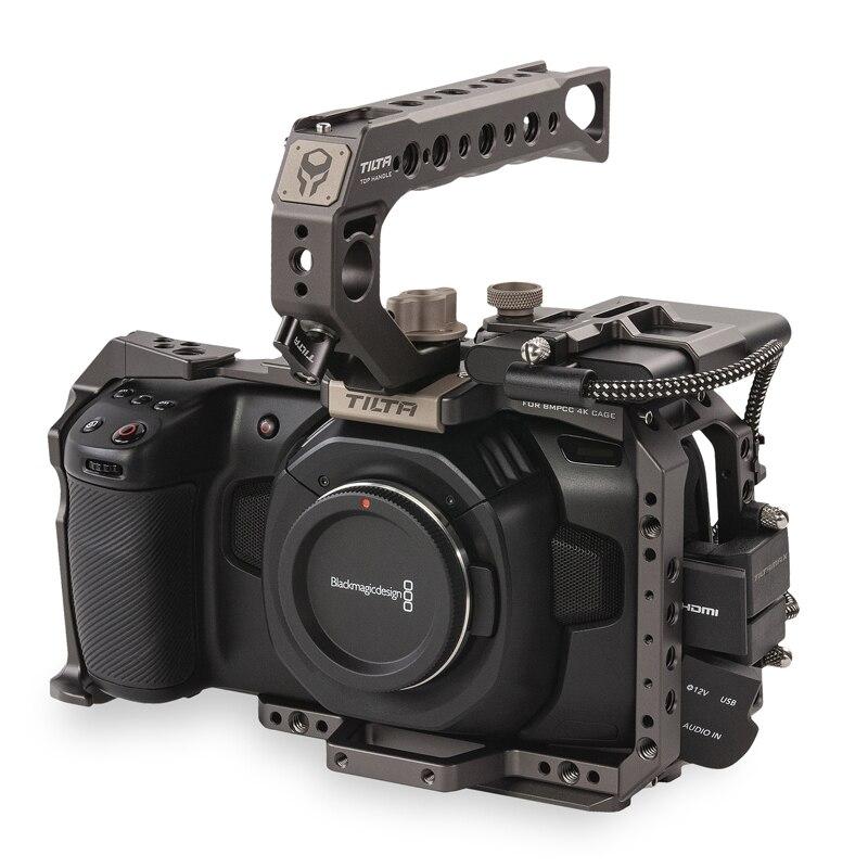 Tilta BMPCC 4K 6K قفص TA-T01-B-G التكتيكية الانتهاء أو رمادي كامل قفص SSD محرك الأقراص مقبض علوي ل BlackMagic BMPCC 4K 6K