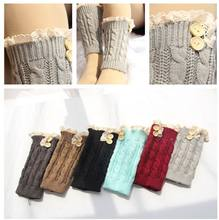 2016 Women short Knitted twist button Boot Cuffs Laced Trim Toppers Socks leg warmers Crochet booty Gaiters 24pairs/lot #3869(China)