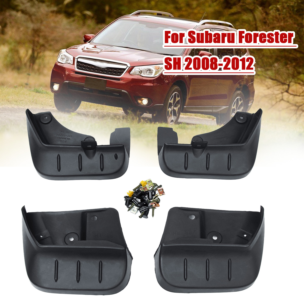 4pcs Car Front Rear Fender Flares Splash Guards Mud Flaps Mudguards for Subaru Forester SH 2008 2009 2010 2011 2012