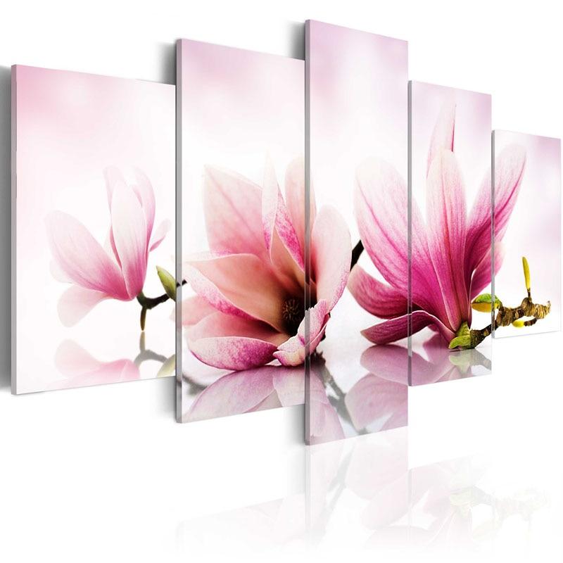 Горячая продажа 5 шт. холст картина довольно цветение персика серии стены Книги по искусству украшения дома печать на холсте дома и Кухня