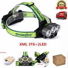 2017 Style 10000Lm 3 XML T6 + 2 LED 5 Modes LED Headlight Headlamp 18650 Head Lamp For Lamp Hunting Camping Hiking + USB Cable