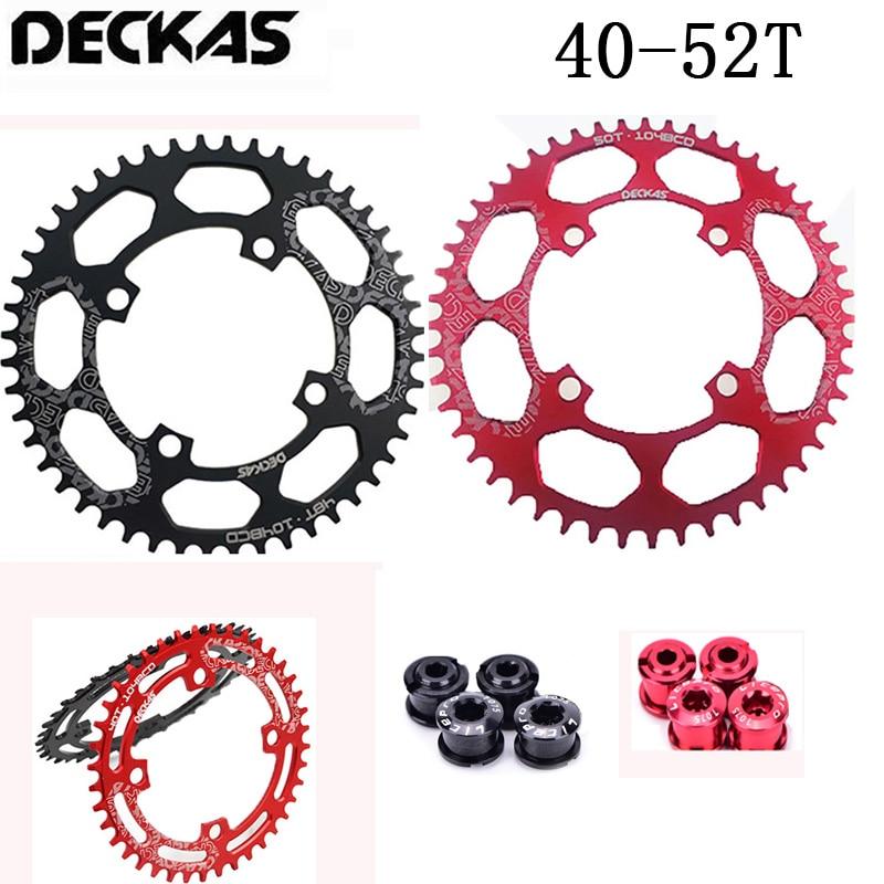 DECKAS 40T-52T Narrow Wide Cycling MTB Bike Chainring 104BCD Single Chain Ring