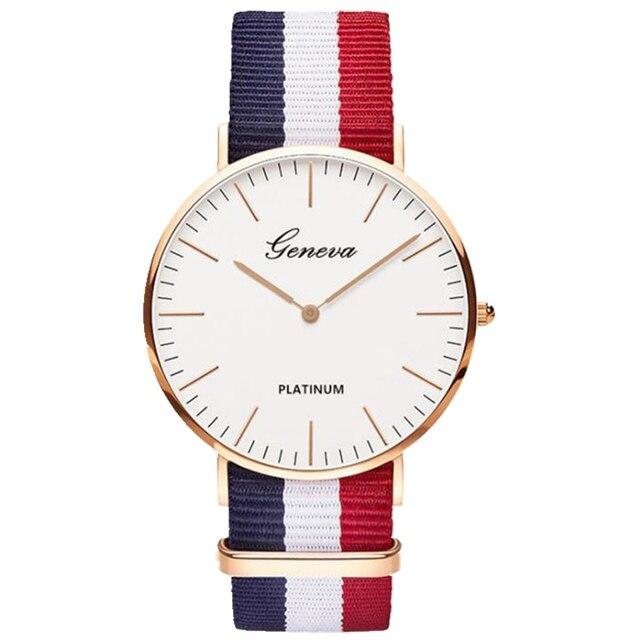 Klasyczne marki genewa zegarek kwarcowy mężczyźni kobiety casual Unisex nylonowy pasek sukienka zegarki moda zegarki damskie