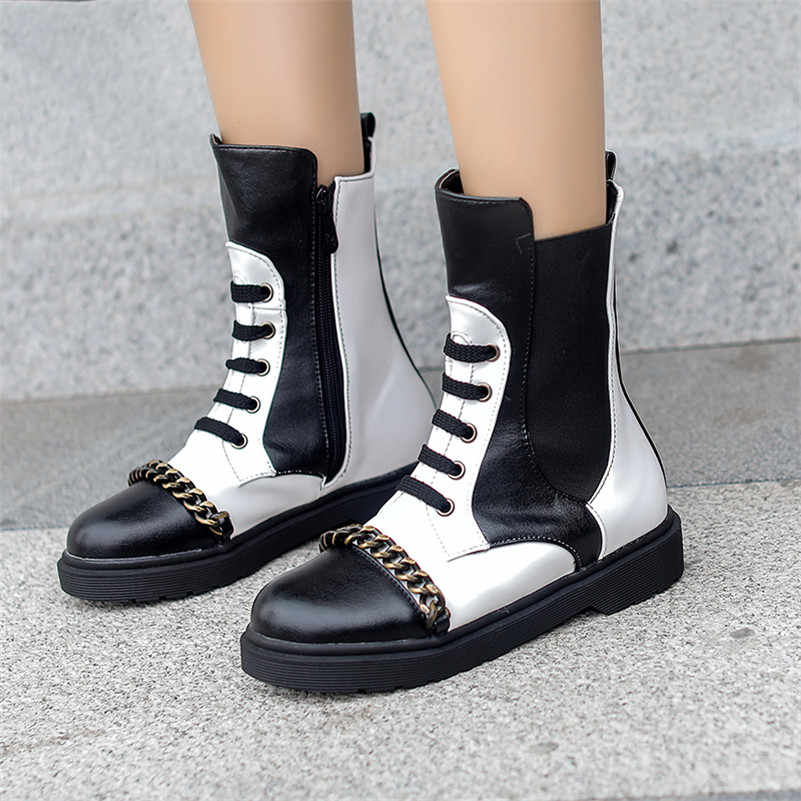 FEDONAS Sonbahar Kış Karışık Renkler Sentetik Deri Kadın yarım çizmeler Lace Up Fermuar Kısa Motosiklet Botları parti ayakkabıları Kadın