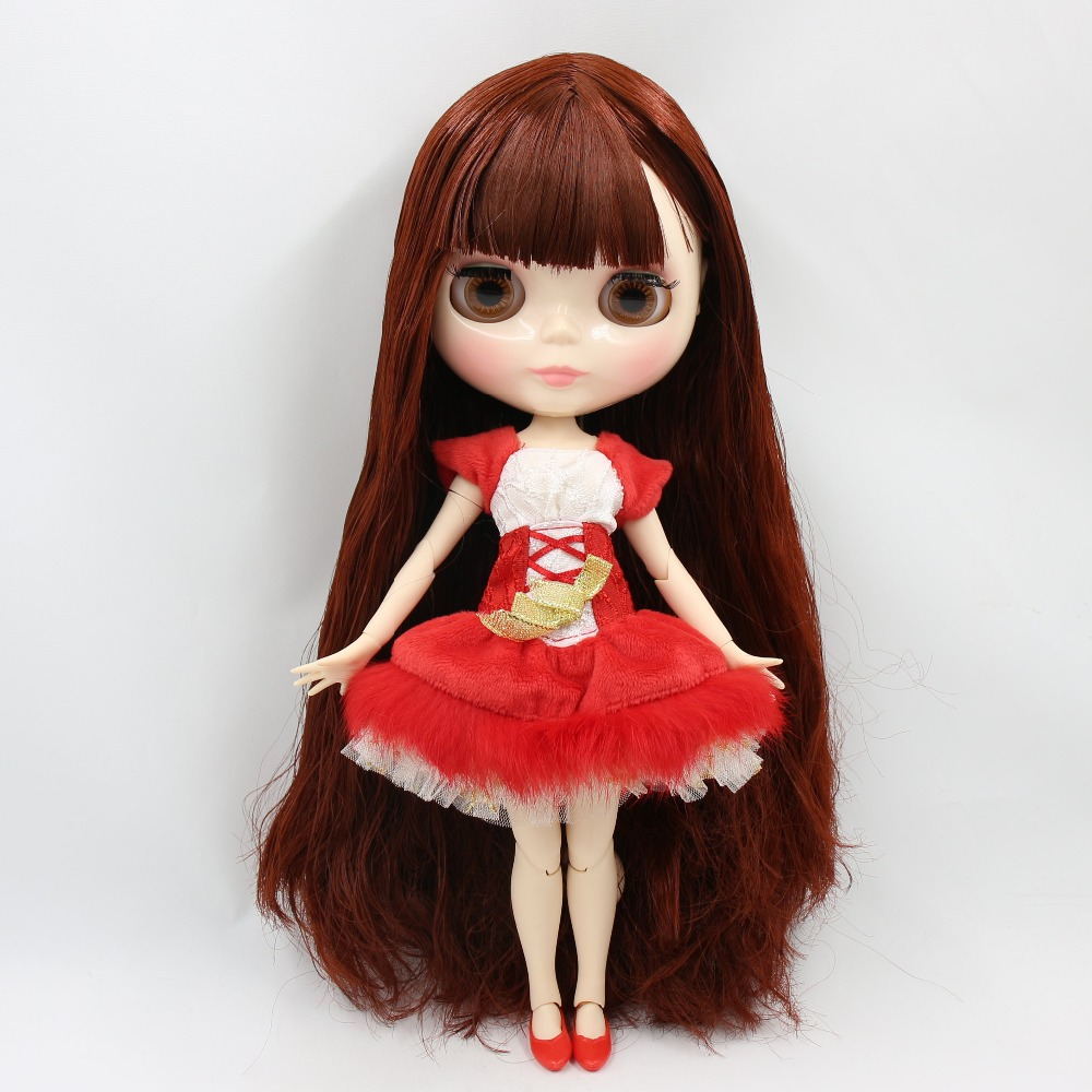 factory blyth doll 1 6 bjd joint body white skin 30cm long hair red brown hair