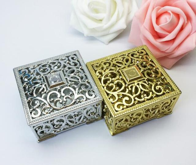100pcs Luxury Golden Silver Square Candy Box Treasure Chest Wedding