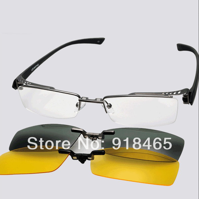 53428bbef9 2 pcs polarized clip on  magic clip on eyeglasses frame  half rim eye  glasses