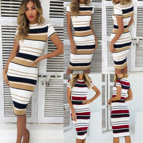 Womens Short Sleeve Bodycon Dress Ladies Summer Striped Dress Size 6-16 Hot Sale Fashion Ladies Round Neck 6