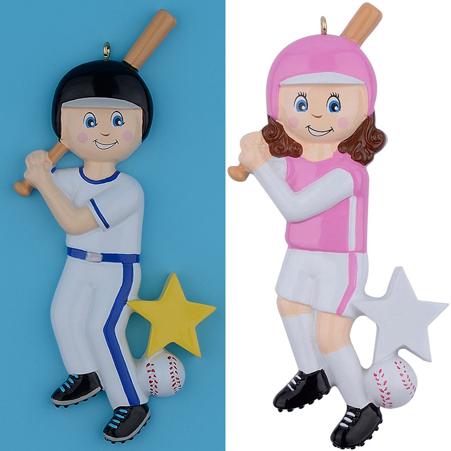 Maxora Wholesale Resin Glossy Children Baseball Boy Girl Christmas Ornaments Personalize ...
