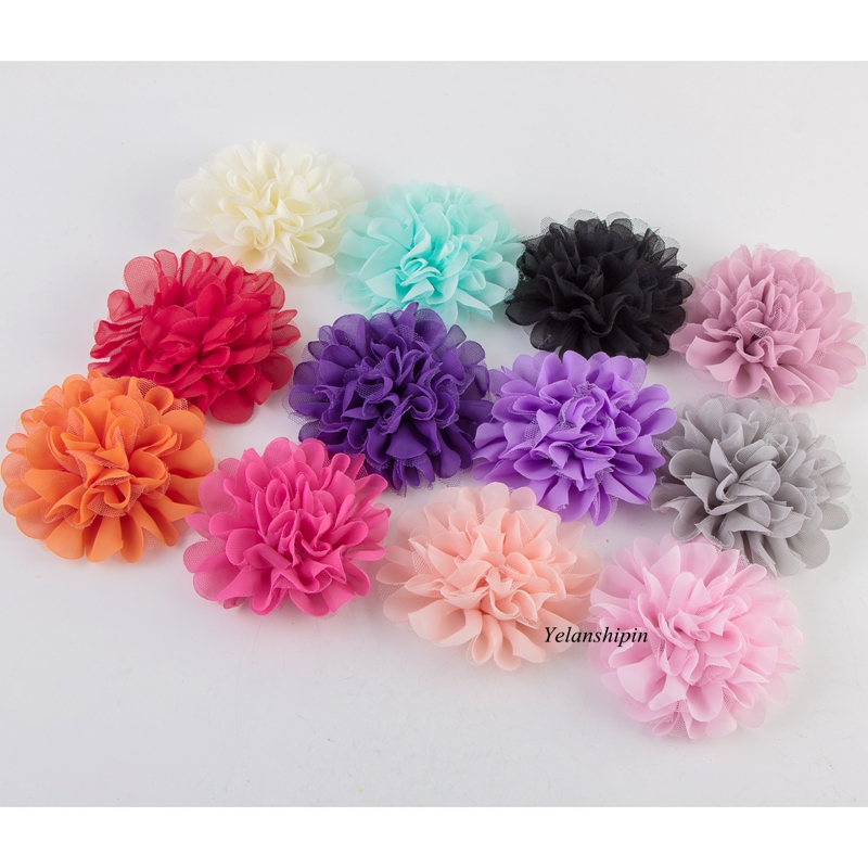120pcs lot 12CM 18colors Hair Fluffy Chiffon Mesh Lace Flowers Clips For Children Hair Accessories Fabric