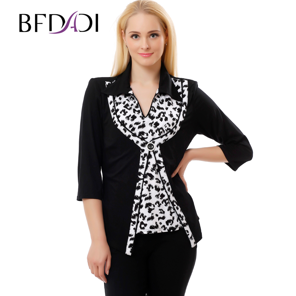 Bfdadi 2016 plus size women clothing autumn style 4xl 5xl for 3 4 sleeve t shirts plus size