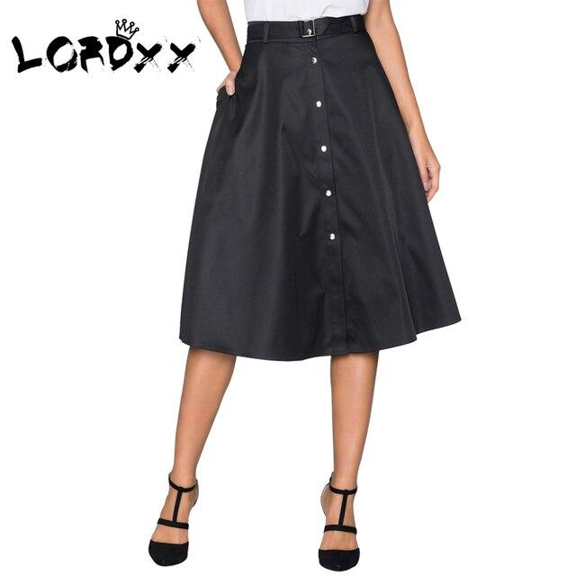 181469c41b LORDXX Black Skirt Women A line High Waist Work Wear Vintage Midi Skirts  Button Front Flared 2018 New Summer Femme Clothing