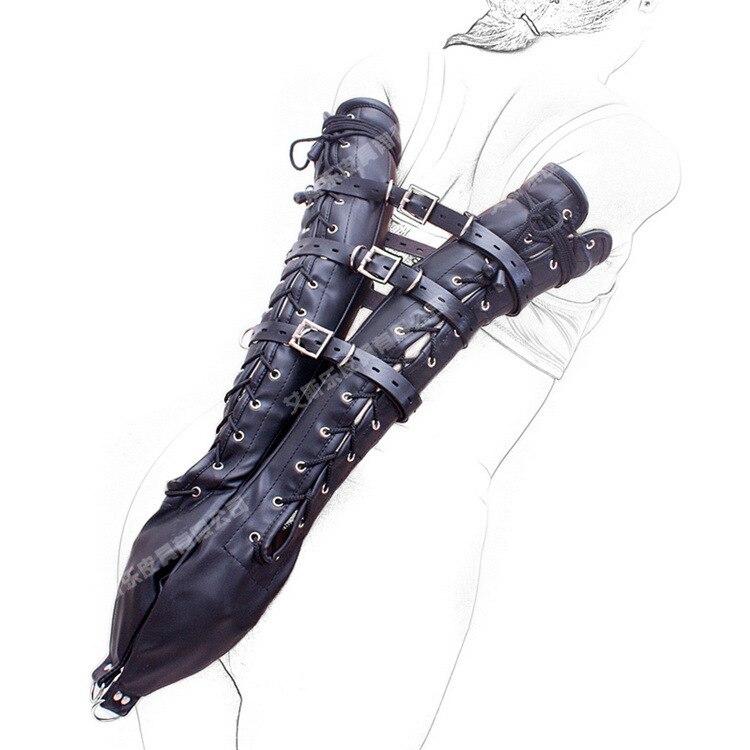 black leather bondage harness belt hand long arm cuffs restraints bags bdsm fetish slave torture erotic games products for woman