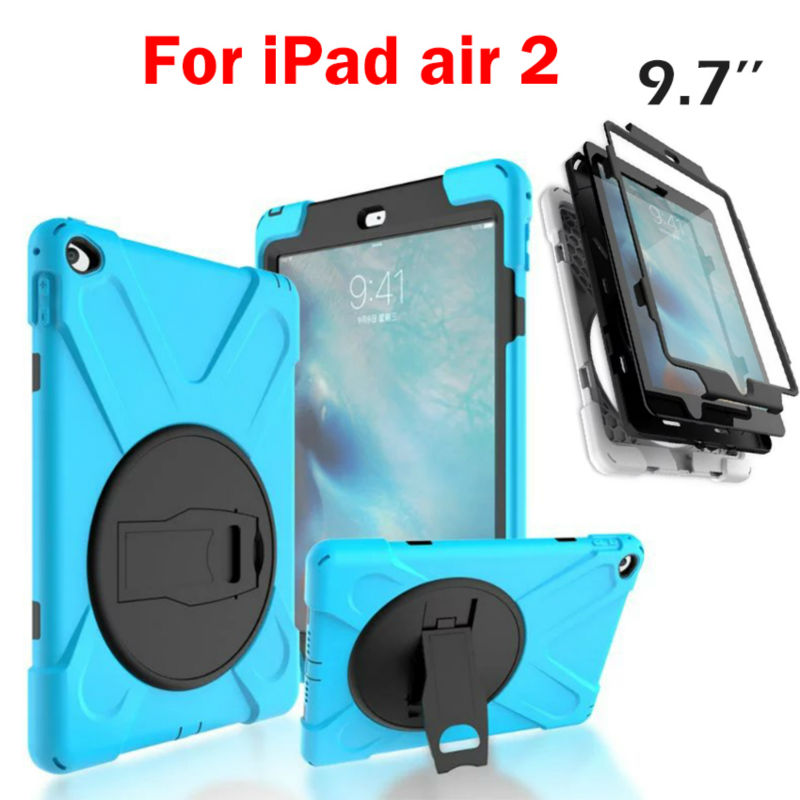 For iPad air 2 Heavy Duty 9.7'' Fundas Shockproof Armor Hydrid Case Back Cover for iPad Air 2 360 Degree Protective Shell Stand heavy duty armor case for apple ipad pro 9 7 shockproof back cover kickstand stand holder for ipad pro 9 7 inch case