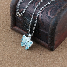 купить 2pcs Blue Enamel Butterfly Alloy Charms Pendant Necklaces Jewelry DIY 23.6 inches Chains A-505d онлайн