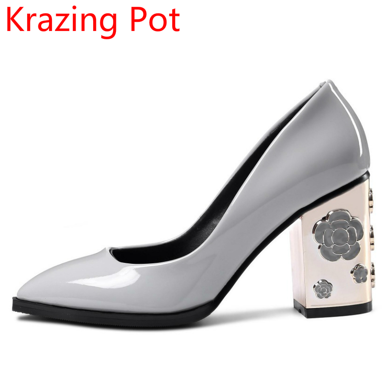 Flowers Metal Heels Genuine Leather Large Size Slip on Super High-heels Pointed Toe European Designer Luxury Wedding Shoes L19 new stylish designer lady high heels shoes pointed toe concise slip on office career shoes woman string metal bead shoe edge